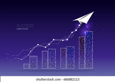 Abstract concept illustration. graph of business. starry night sky and line dot graphic design.  concept of growth. - line stroke weight editable