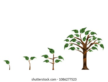 Abstract concept of low poly polygon natural tree growth on white isolated background us in digital financial banking investment technology transformation
