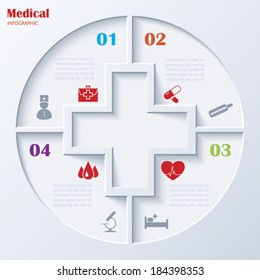 Abstract concept of medicine with  medical and healthcare icons and background. Vector illustration