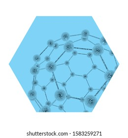 Abstract concept of micellar water. Icon for cosmetics. Molecules forming a complex structure.