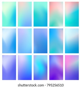 Abstract concept multicolored blurred background set. Liquid, flow, fluid covers gradient set of poster covers with a color vibrant gradient background. Modern screen gradient for the mobile app.