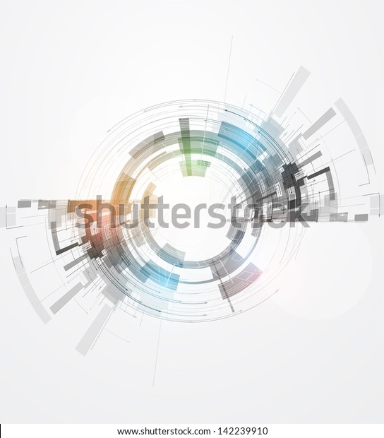 abstract concept nano round ray computer technology business background