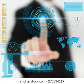 Abstract concept photo of man touching future technology social network button. Digital touch screen of icon for web, user mobile application, art iIllustration template, business virtual data bar.