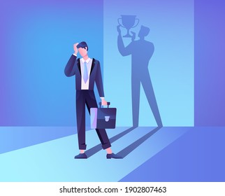 Abstract concept of self belief and self confidence. The businessmans shadow helps him maintain faith in himself. Flat cartoon vector illustration