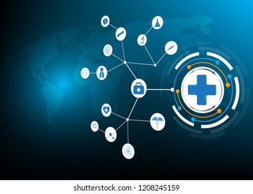 abstract concept symbol medical network  earth blue background