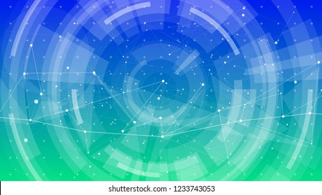 abstract concept - technology blue green background - a digital network composed of a point connected by lines into triangles - similar to constellations, stars and galaxies in space or blockchain