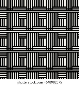 Abstract concept vector monochrome geometric pattern. Black and white minimal background. Creative illustration template. Seamless stylish texture. For wallpaper, surface, web design, textile, decor.
