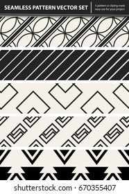 Abstract concept vector monochrome geometric pattern. Black and white minimal background. Creative illustration template. Seamless stylish texture. For wallpaper, surface, web design, textile, decor