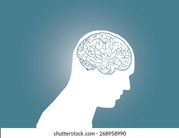 Abstract conceptual image of business human brain in body head with space as background in vector