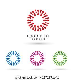 Abstract Conected Dot Logo. Symbol & Icon Vector Template.