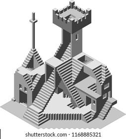 Abstract Confusion Watchtower Building Vector