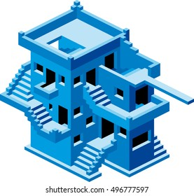 Abstract Confusive House. House Maze. Stairs Maze. Labyrinth House. Abstract Home. Isometric House Illustration.