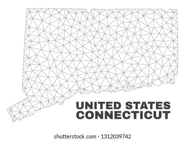 Abstract Connecticut State map isolated on a white background. Triangular mesh model in black color of Connecticut State map. Polygonal geographic scheme designed for political illustrations.