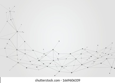 Abstract connecting dots and lines background, Technology connection digital data concept, vector illustrator