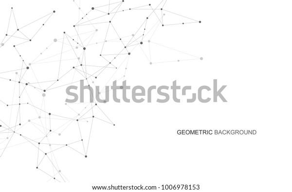 Abstrakte Verbindungspunkte und -linien. Wissenschaft und Technologie im Bereich der Verbindung. Vektorgrafik