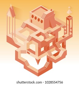 Abstract construction with secrets, labyrinth with secrets, sand desert, vector flat beautiful illustration isolated on white background, abstract tower or castle