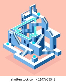 Abstract construction with secrets, labyrinth with secrets, sand desert, vector flat beautiful illustration, abstract tower or castle