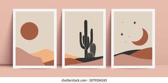 Abstract contemporary aesthetic background with desert, sand dunes, sun and moon. Terracotta colors. Boho wall decor.