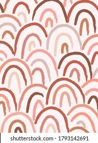 Abstract contemporary aesthetic background with geometric balance shapes, rainbow gates. Boho wall decor. Mid century modern minimalist neutral art print. Organic shapes. Terracotta color, earth tone