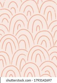 Abstract contemporary aesthetic background with geometric balance shapes, rainbow gates. Mid century modern minimalist neutral art print. Organic shape. Terracotta color, earth tone. Boho wall decor.