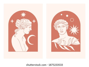 Abstract contemporary aesthetic background set with classic marble woman goddess statue in modern style. Boho wall decor. Minimalist art print. Aphrodite Venus Portrait. Antique greek sculpture.