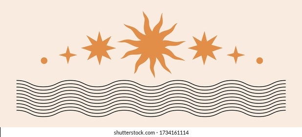 Abstract contemporary aesthetic background with Sun, stars, geometric waves. Black and golden colors. Boho wall decor. Mid century modern minimalist art print. Organic natural shape. Magic concept.