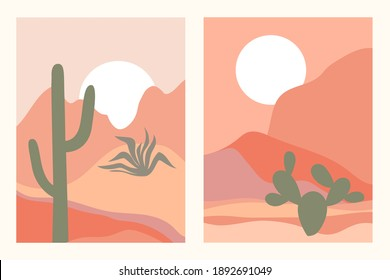 Abstract contemporary aesthetic backgrounds landscapes set with desert, cactuses, sunrise, sunset. Earth tones, pastel colors. Boho wall decor. Mid century modern minimalist art print. Flat design.