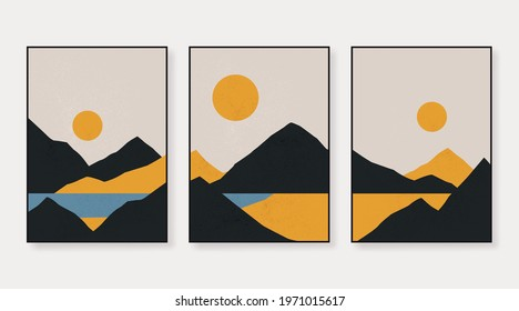 Abstract contemporary aesthetic backgrounds landscapes set with sunrise, sunset. Earth tones, pastel colors. Boho wall decor. Mid century modern minimalist art print. Flat design.