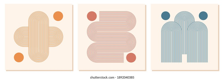 Abstract contemporary aesthetic backgrounds set with geometric rainbow Sun lines. Earth tone, pastel colors. Boho wall decor. Mid century modern minimalist art print. Organic natural shape.