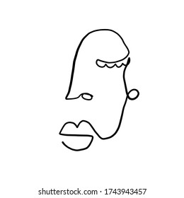 Abstract contemporary art. Cubism linear face. Simple minimal beauty logo. Continuous line drawing. Vintage trendy design for poster, flyer, print, card. t-shirt.
