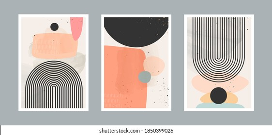 Abstract contemporary arts background with geometric balance shapes, rainbow and sun for wall decoration, postcard or brochure cover design. Vector illustrations design.