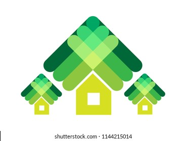 Abstract contemporary artwork of houses large and small. Editable Clip Art.