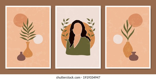 Abstract Contemporary mid century modern face portraits boho poster template collection. Minimal and natural compositions for postcard, cover, wallpaper, wall art.