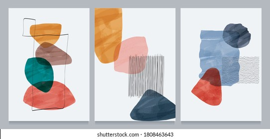 Abstract contemporary modern trendy. vector Set of creative minimalist hand painted illustrations for social media, wall decoration, postcard or brochure cover design