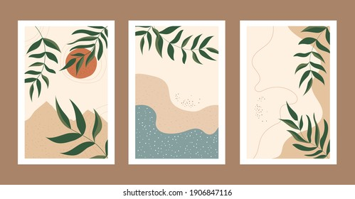 Abstract contemporary nature backgrounds collection - summer sale, social media promotional content. Leaves, sun, sea, beach and mountains. Design for poster, card, invitation, placard, brochure