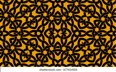 Abstract Contemporary Seamless Pattern With Celtic Knot Ornament Of Orange And Black Shades