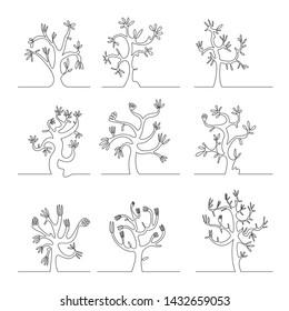 Abstract continuous line drawing of nature tree set. vector illustration.