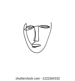 Abstract continuous one line drawing, human face. Modern style portrait. Vector illustration.