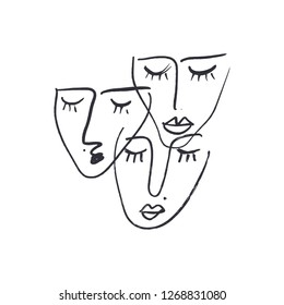 Abstract continuous one line drawing faces. Modern style portrait. Vector illustration.
