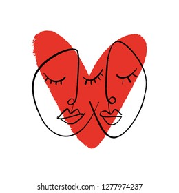 Abstract continuous one line drawing faces. Couple in love. Vector illustration