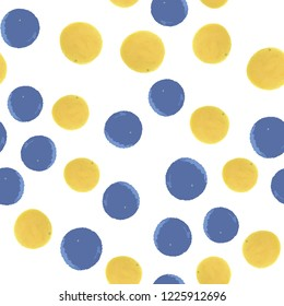 Abstract continuous pattern polka dots in blue and yellow colors. Vector. Elements are not cropped. Pattern under the mask. Perfect design for posters, cards, textile, web etc.