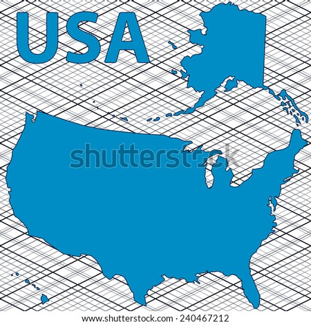 Abstract Contour Map USA All Objects Stock Vector (Royalty Free ...
