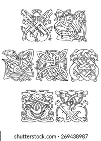 Abstract contoured animals and birds in traditional celtic knot style decorated tribal geometric ornament suitable for totem medieval styled embellishment  design