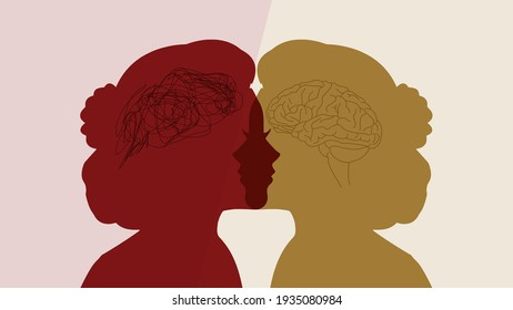 Abstract contrast between a healthy woman and a patient with bipolar disorder. A metaphor for tangle and untangle brains on a two-faced woman's silhouette. Dual personality and mental health problems.