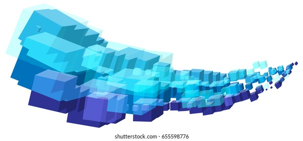 Abstract cool blue cubes shapes stream wave in vector format