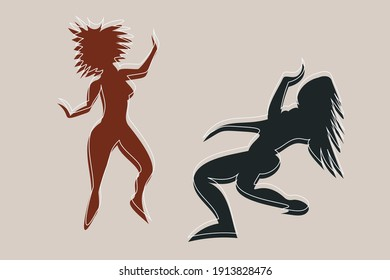 Abstract cool and energetic illustration of afro dance. Two fictional female characters dance together in different poses. Angular and amorphous figures in muted coffee colors of brown and gray.