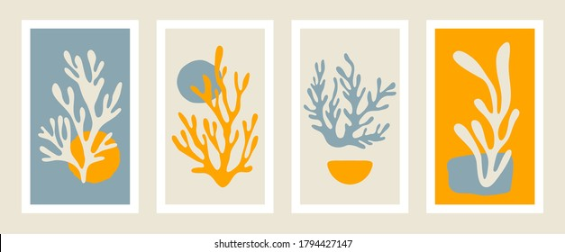 Abstract coral posters. Contemporary minimalist organic shapes Matisse style, colorful corals, graphic vector illustration.