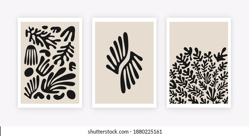 Abstract coral posters. Contemporary minimalist organic shapes corals Matisse style. Vector graphic illustration