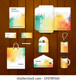 Abstract Corporate brand Business identity design Template Layout. Pen, CD, Cup, Letter, Folder, card. Vector company style brand design layout. Branding ID