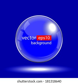 Abstract Corporate Design with Glass Sphere on blue background